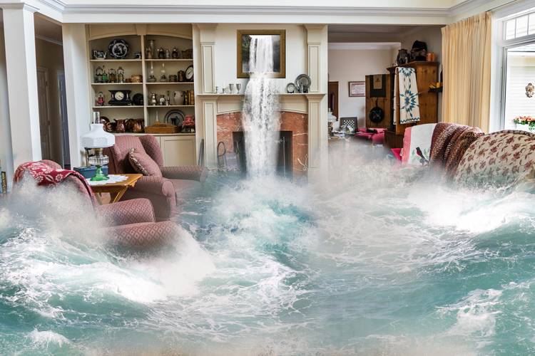 Water damage flooding home graphic