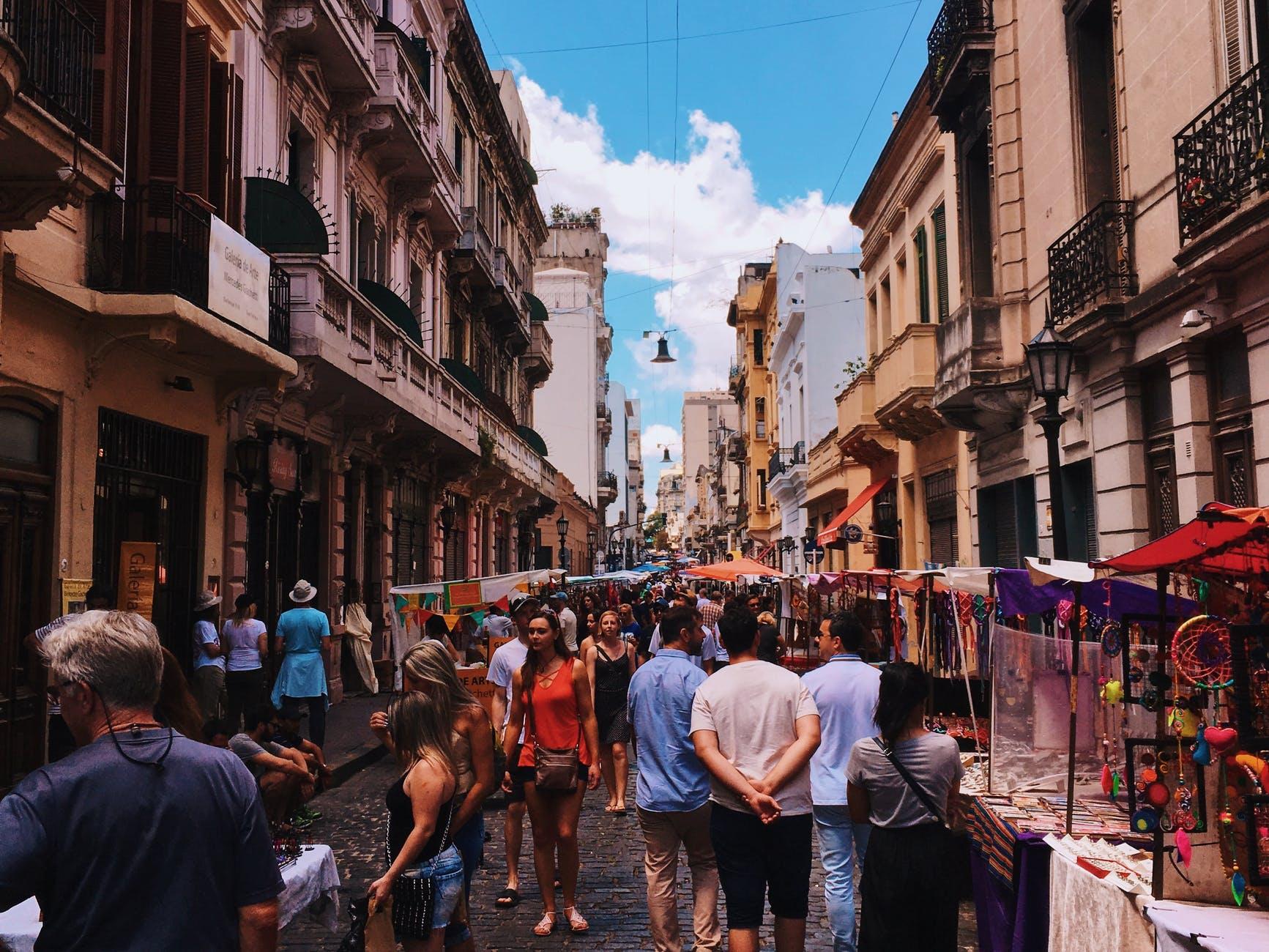 People walking in busy street